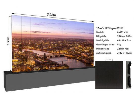 LED Wand 5,28m x 2,88m 15qm - LEDitgo 2,5 - details
